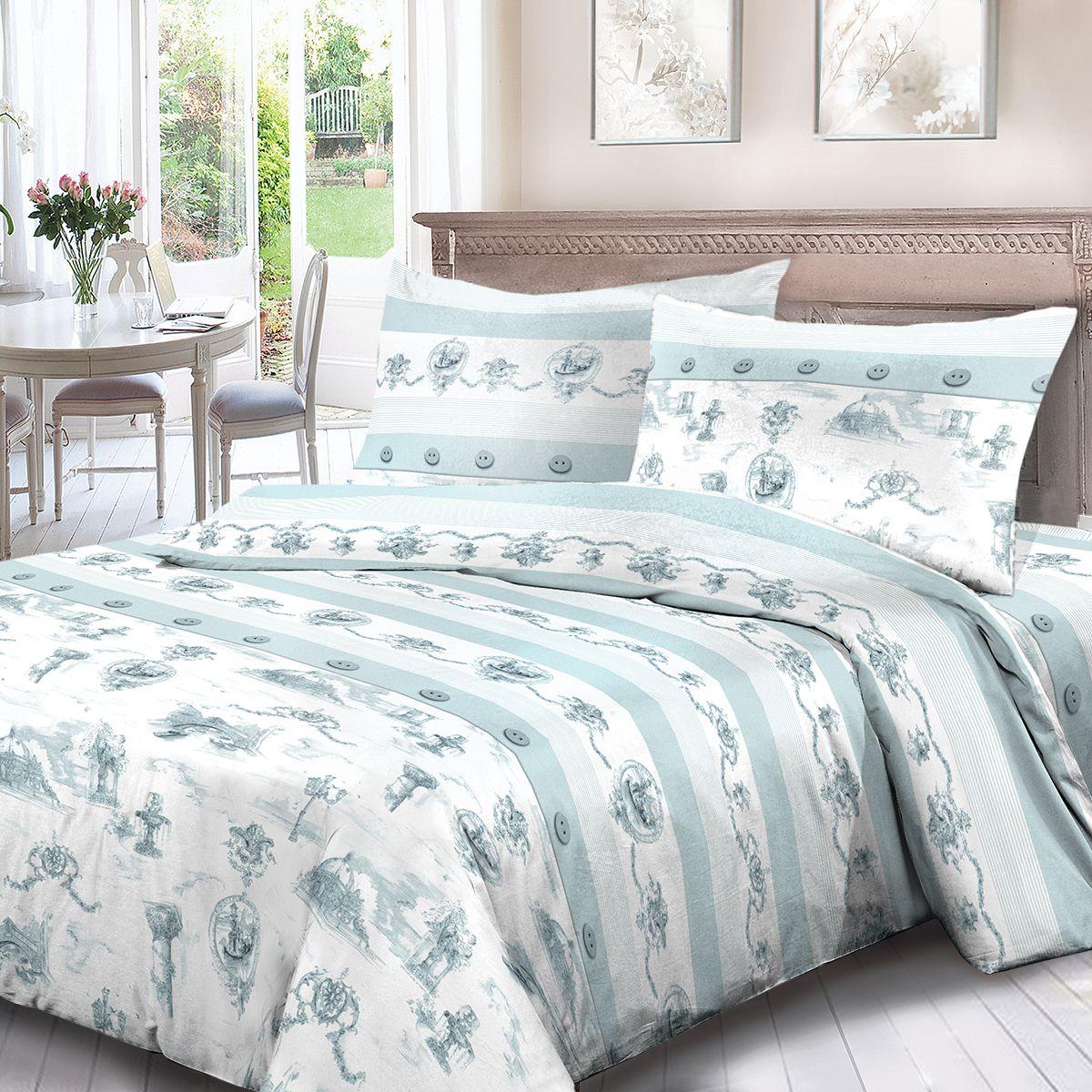 Комплект белья Для Снов Аллея, 1,5 спальное, наволочки 70x70, цвет: зеленый. 3784-186488