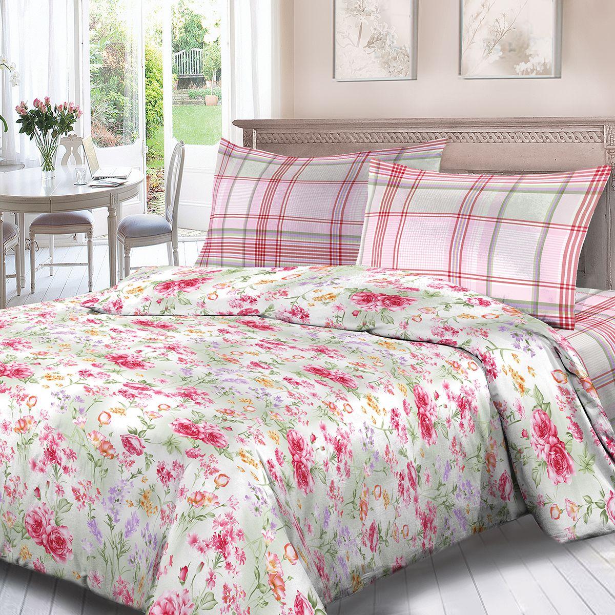 Комплект белья Для Снов Аннет, 2-х спальное, наволочки 70x70, цвет: розовый. 3599-186496