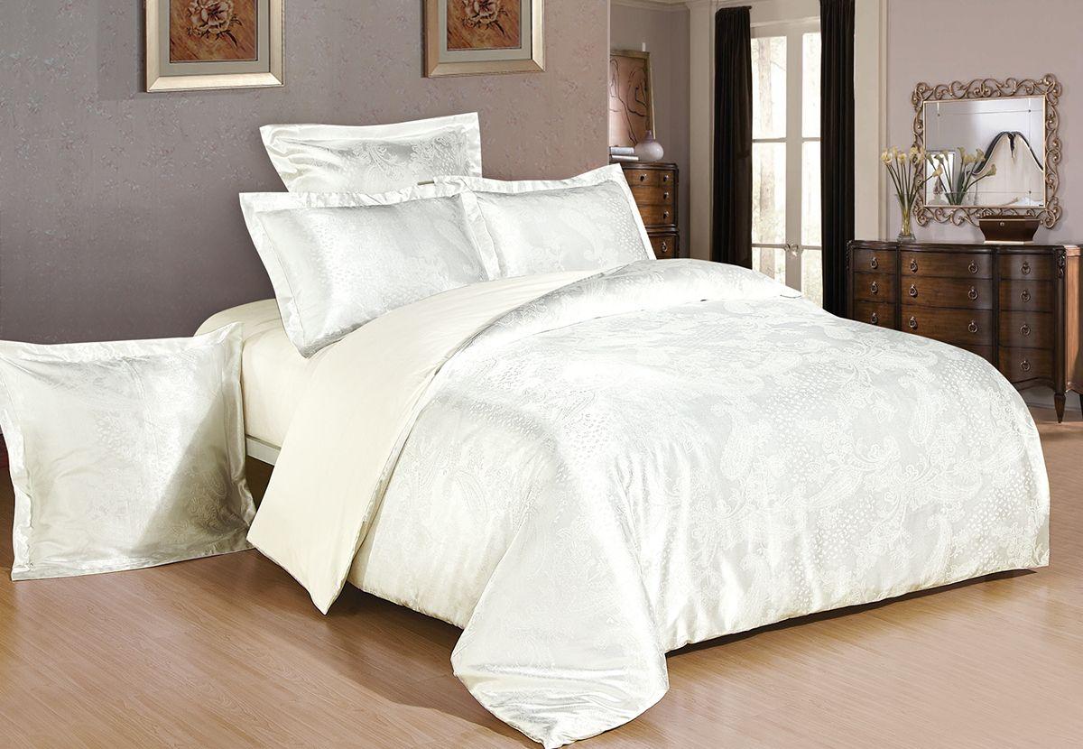 Комплект белья Versailles Юнона, 2-спальный, наволочки 50x70, цвет: слоновая кость86673Комплект постельного белья Versailles изготовлен из сатина, сотканного из хлопка с добавлением вискозных волокон. Белье дарит приятные тактильные ощущения на протяжении всего сна, а уникальные жаккардовые узоры придают танки мягкий блеск и обеспечивают материалу особую прочность. Постельное белье Versailles - отличный подарок на любое торжество и идеальный выбор для взыскательных покупателей. Комплект состоит из пододеяльника, простыни и двух наволочек. Состав: хлопок 70%, вискоза 30%