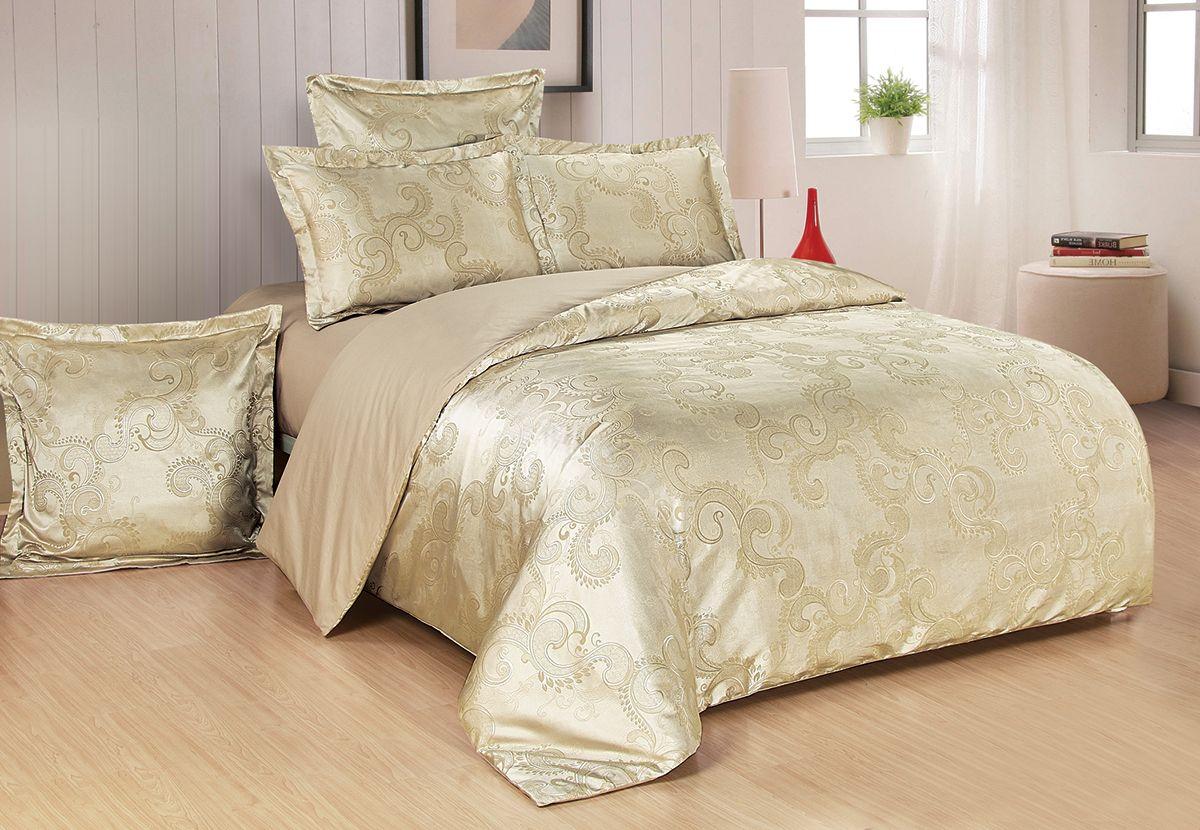 Комплект белья Versailles Миранда, 2-спальный, наволочки 50x70, цвет: золотой86676Комплект постельного белья Versailles изготовлен из сатина, сотканного из хлопка с добавлением вискозных волокон. Белье дарит приятные тактильные ощущения на протяжении всего сна, а уникальные жаккардовые узоры придают танки мягкий блеск и обеспечивают материалу особую прочность. Постельное белье Versailles - отличный подарок на любое торжество и идеальный выбор для взыскательных покупателей. Комплект состоит из пододеяльника, простыни и двух наволочек. Состав: хлопок 70%, вискоза 30%