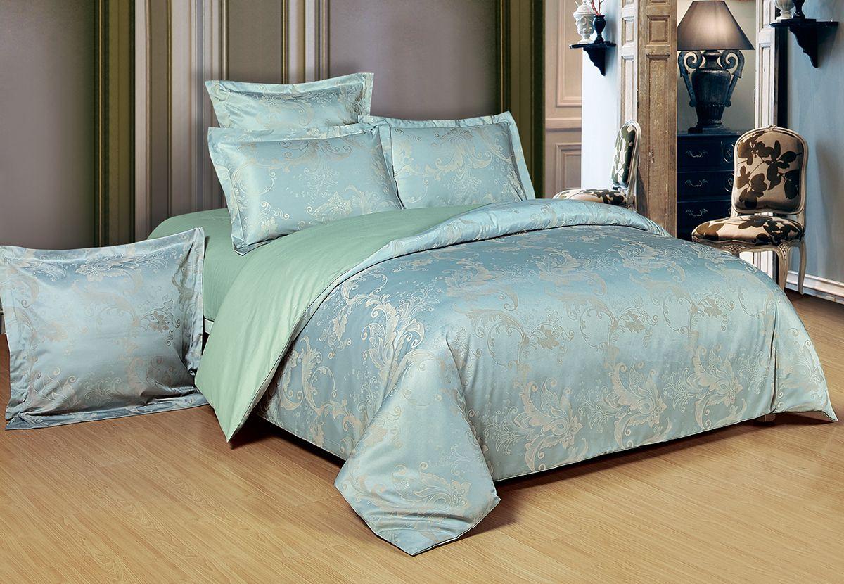 Комплект белья Versailles Ричи, 2-спальный, наволочки 50x70, цвет: голубой86680Комплект постельного белья Versailles изготовлен из сатина, сотканного из хлопка с добавлением вискозных волокон. Белье дарит приятные тактильные ощущения на протяжении всего сна, а уникальные жаккардовые узоры придают танки мягкий блеск и обеспечивают материалу особую прочность. Постельное белье Versailles - отличный подарок на любое торжество и идеальный выбор для взыскательных покупателей. Комплект состоит из пододеяльника, простыни и двух наволочек. Состав: хлопок 70%, вискоза 30%