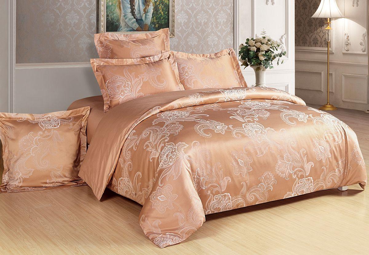 Комплект белья Versailles Эвелина, 2-спальный, наволочки 70x70, цвет: янтарный86683Комплект постельного белья Versailles изготовлен из сатина, сотканного из хлопка с добавлением вискозных волокон. Белье дарит приятные тактильные ощущения на протяжении всего сна, а уникальные жаккардовые узоры придают танки мягкий блеск и обеспечивают материалу особую прочность. Постельное белье Versailles - отличный подарок на любое торжество и идеальный выбор для взыскательных покупателей. Комплект состоит из пододеяльника, простыни и двух наволочек. Состав: хлопок 70%, вискоза 30%