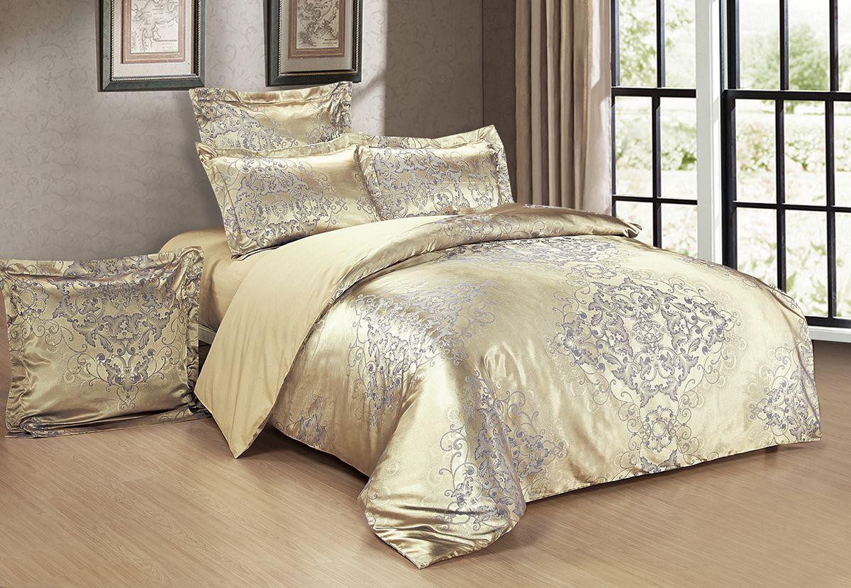 Комплект белья Versailles Альберта, евро, наволочки 50x70, цвет: золотой86691Комплект постельного белья Versailles изготовлен из сатина, сотканного из хлопка с добавлением вискозных волокон. Белье дарит приятные тактильные ощущения на протяжении всего сна, а уникальные жаккардовые узоры придают танки мягкий блеск и обеспечивают материалу особую прочность. Постельное белье Versailles - отличный подарок на любое торжество и идеальный выбор для взыскательных покупателей. Комплект состоит из пододеяльника, простыни и четырех наволочек. Состав: хлопок 70%, вискоза 30%