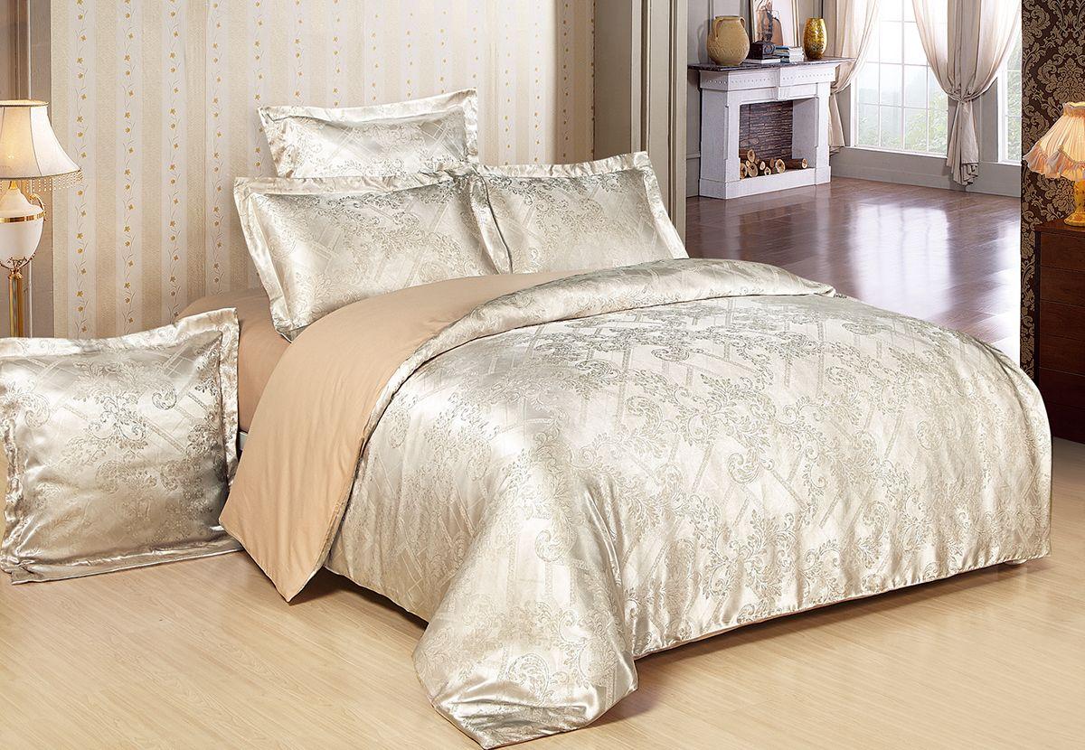 Комплект белья Versailles Анета, евро, наволочки 50x70, цвет: золотой86693Комплект постельного белья Versailles изготовлен из сатина, сотканного из хлопка с добавлением вискозных волокон. Белье дарит приятные тактильные ощущения на протяжении всего сна, а уникальные жаккардовые узоры придают танки мягкий блеск и обеспечивают материалу особую прочность. Постельное белье Versailles - отличный подарок на любое торжество и идеальный выбор для взыскательных покупателей. Комплект состоит из пододеяльника, простыни и четырех наволочек. Состав: хлопок 70%, вискоза 30%