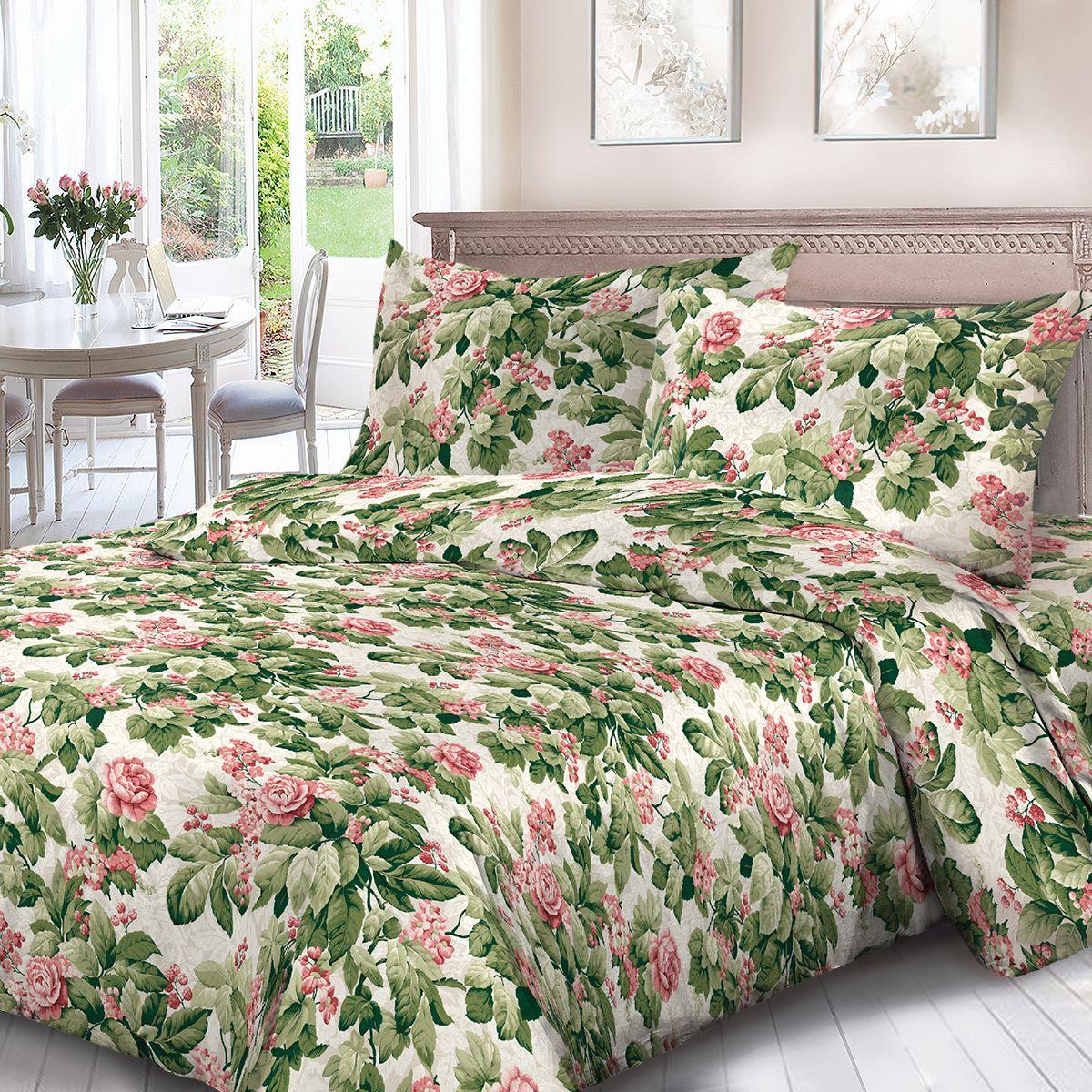 Комплект белья Для Снов Романс, семейный, наволочки 70x70, цвет: зеленый. 1702-187096