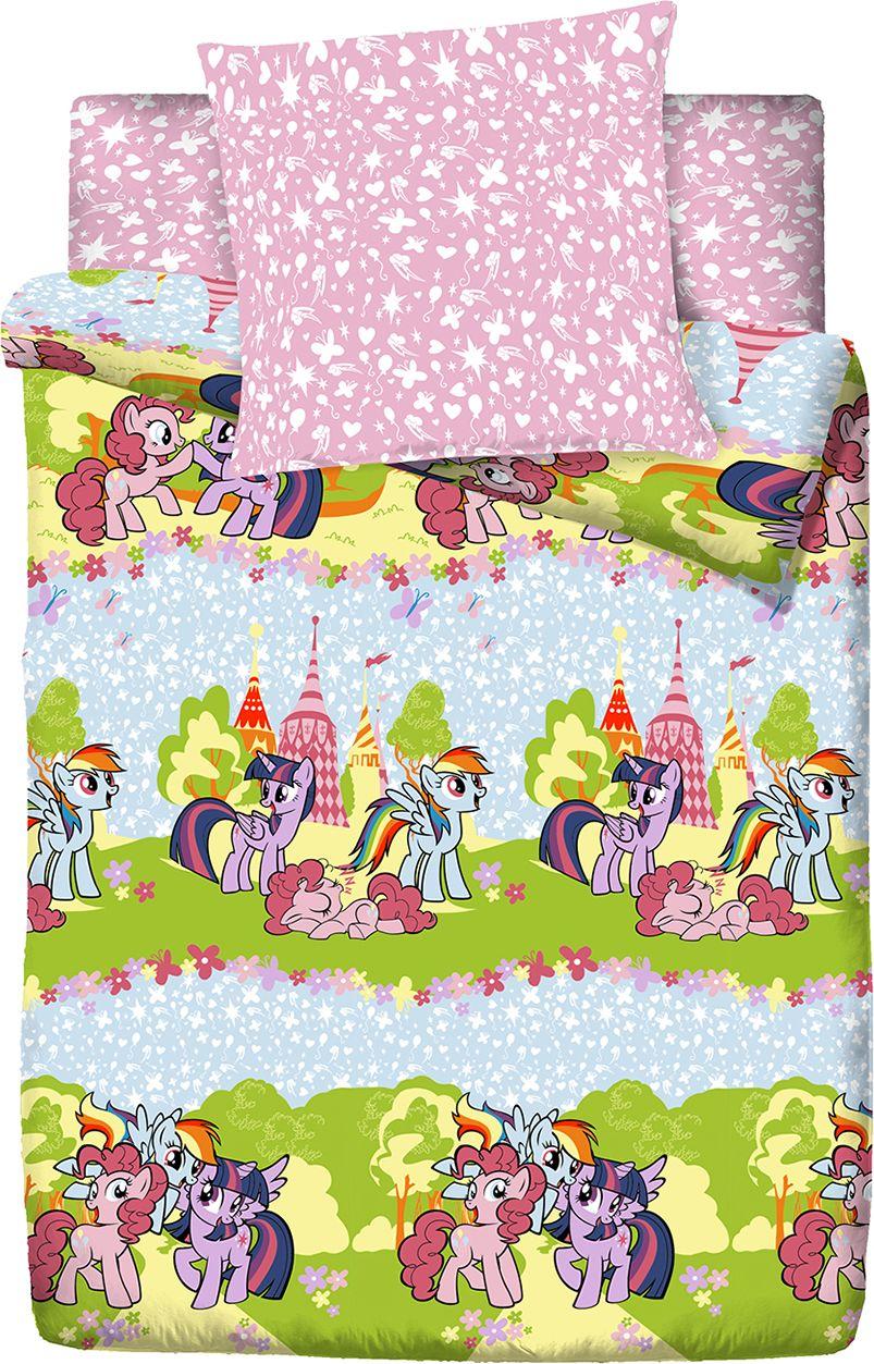 Комплект белья Пони Сказочный мир, 1,5 спальное, наволочки 70x70, цвет: розовый. 4118-187560