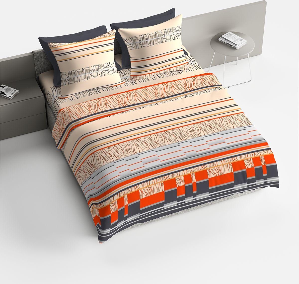Комплект белья Браво Манфредо, 2-спальный, наволочки 70x70, цвет: оранжевый отсутствует цветы