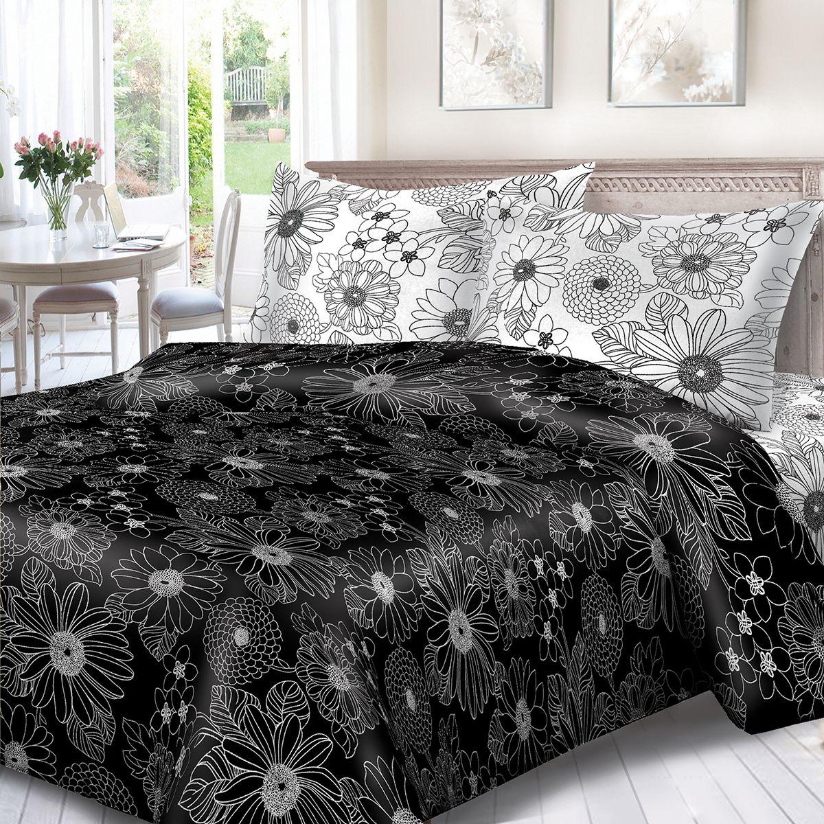 Комплект белья Сорренто День и ночь, семейный, наволочки 70x70, цвет: черный. 1132-189077