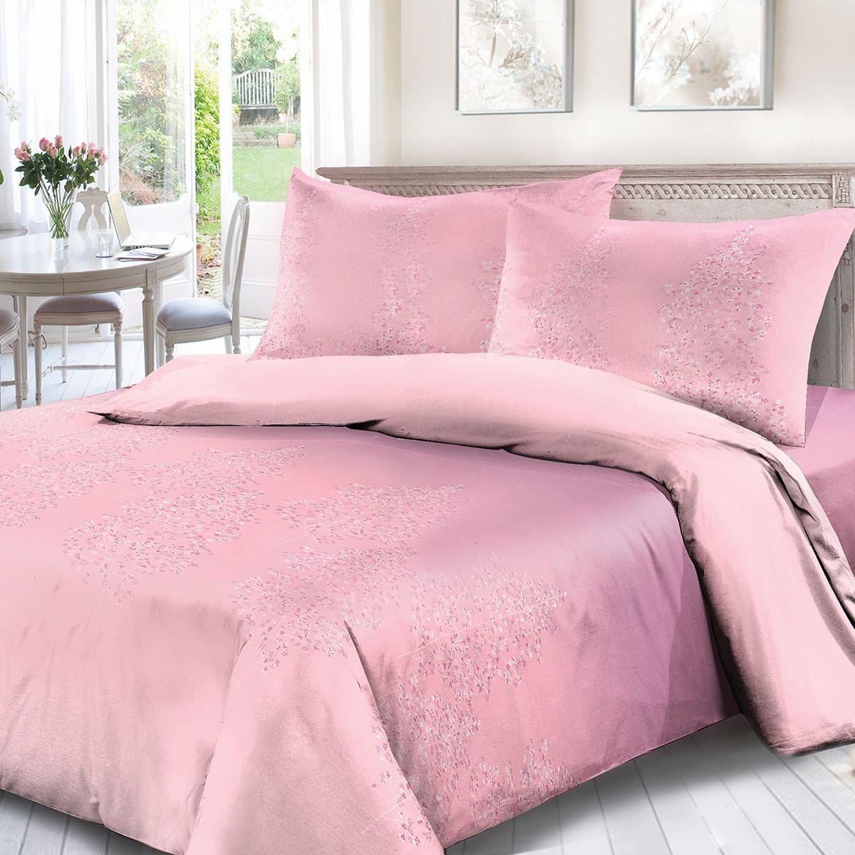 Комплект белья Сорренто Аврора, 2-х спальное, наволочки 70x70, цвет: розовый. 1500-189079