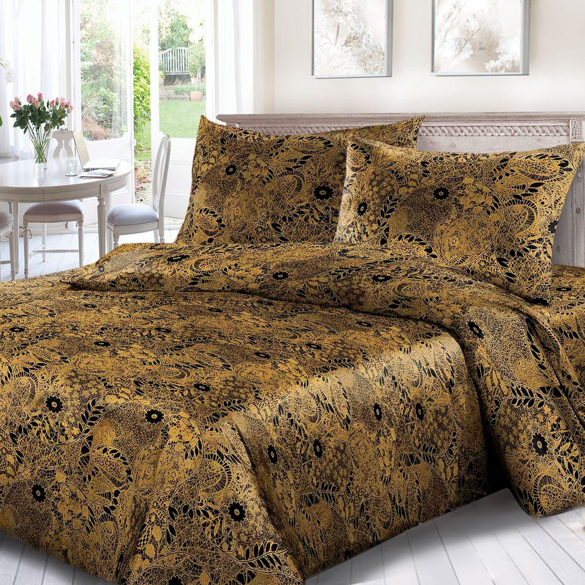 Комплект белья Сорренто Кружево, евро, наволочки 70x70, цвет: коричневый. 1698-189088