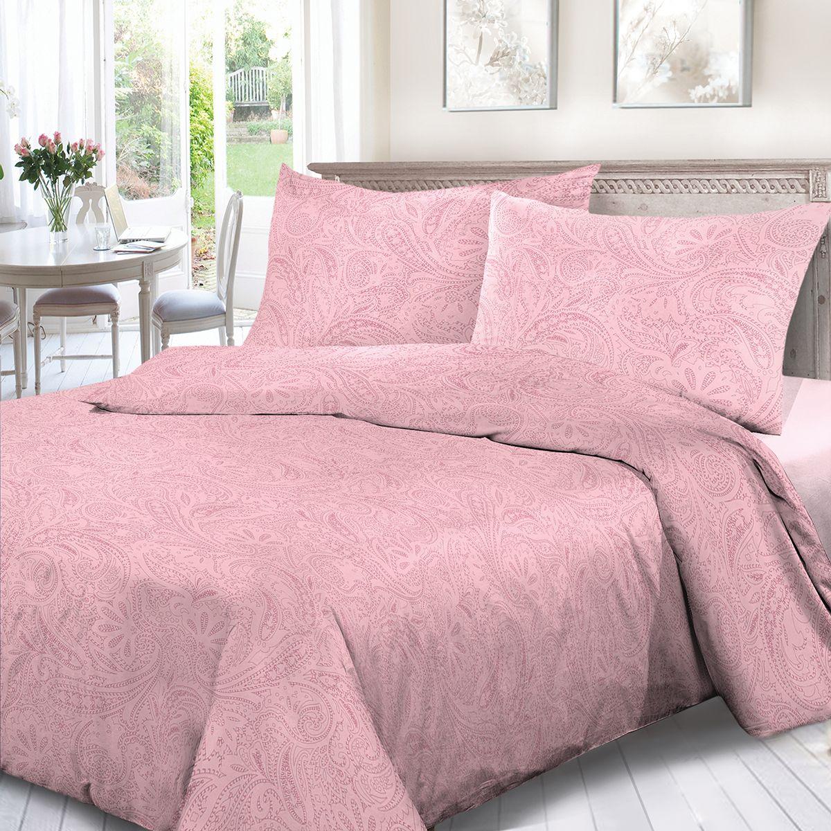 Комплект белья Сорренто Ариэль, евро, наволочки 70x70, цвет: розовый. 4114-189100