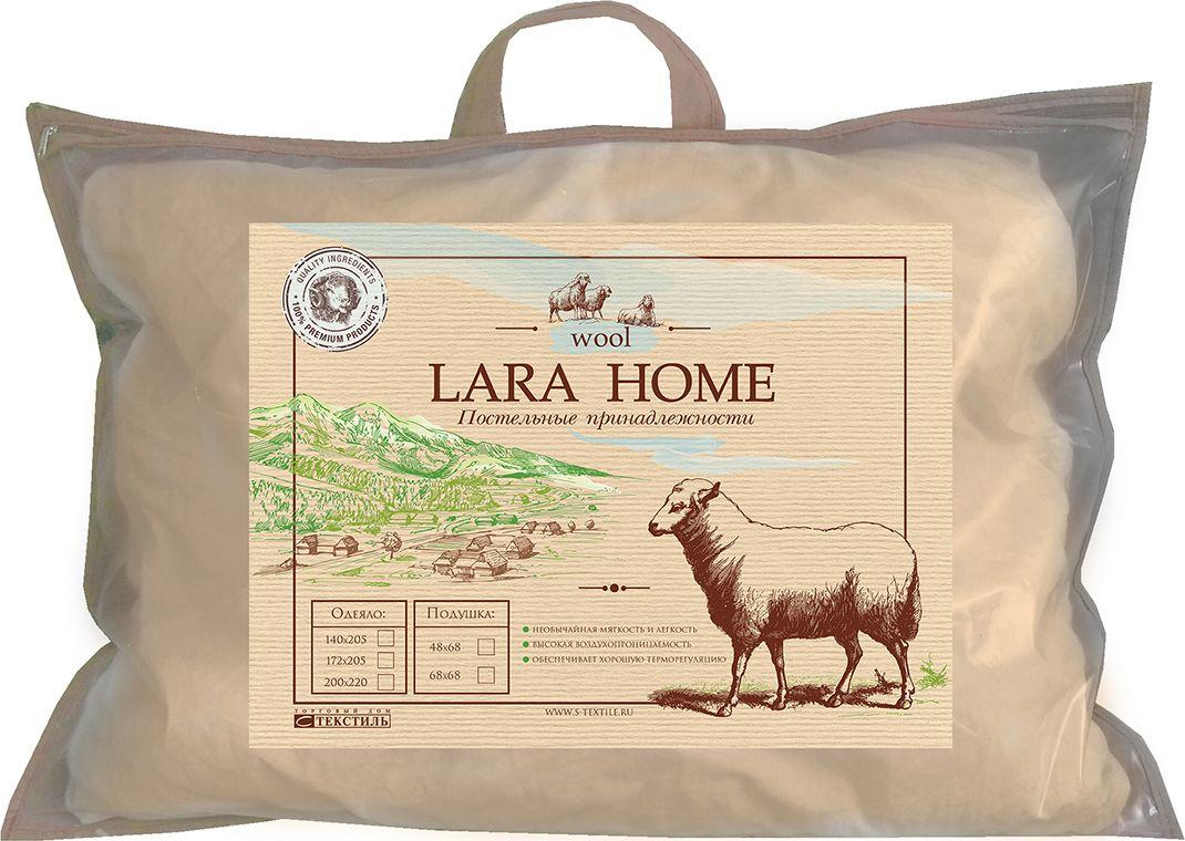 Подушка Lara Home Wool, цвет: бежевый, 68 х 68 см89534Наполнитель: овечья шерсть, силиконизированное волокно