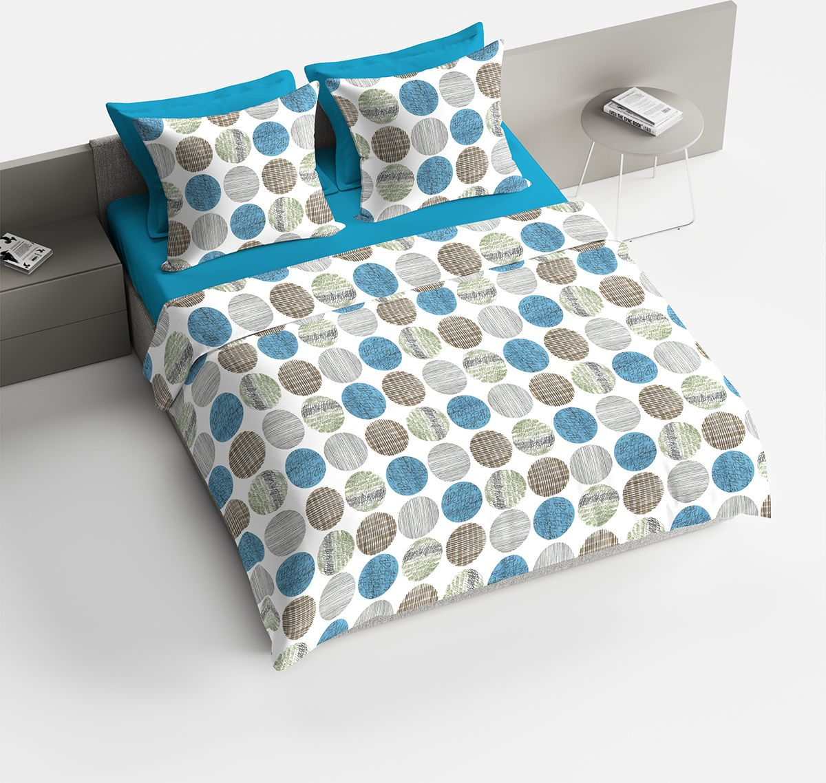 Комплект белья Браво Раунд, 1,5 спальное, наволочки 70x70, цвет: бирюзовый. 4095-189760