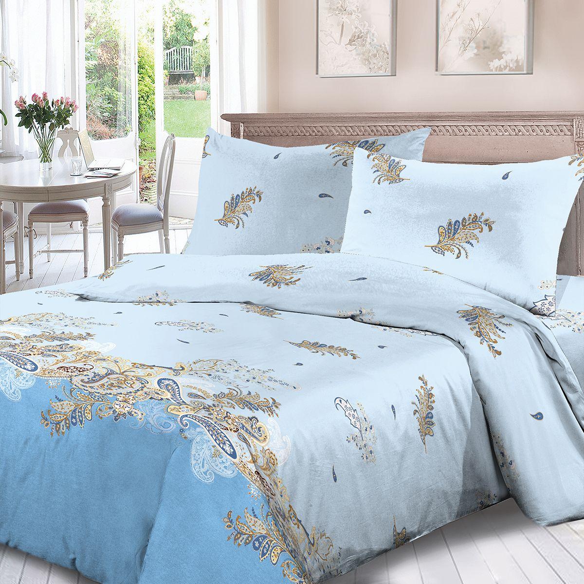 Комплект белья Для Снов Македония, 1,5 спальное, наволочки 70x70, цвет: голубой. 4129-190147