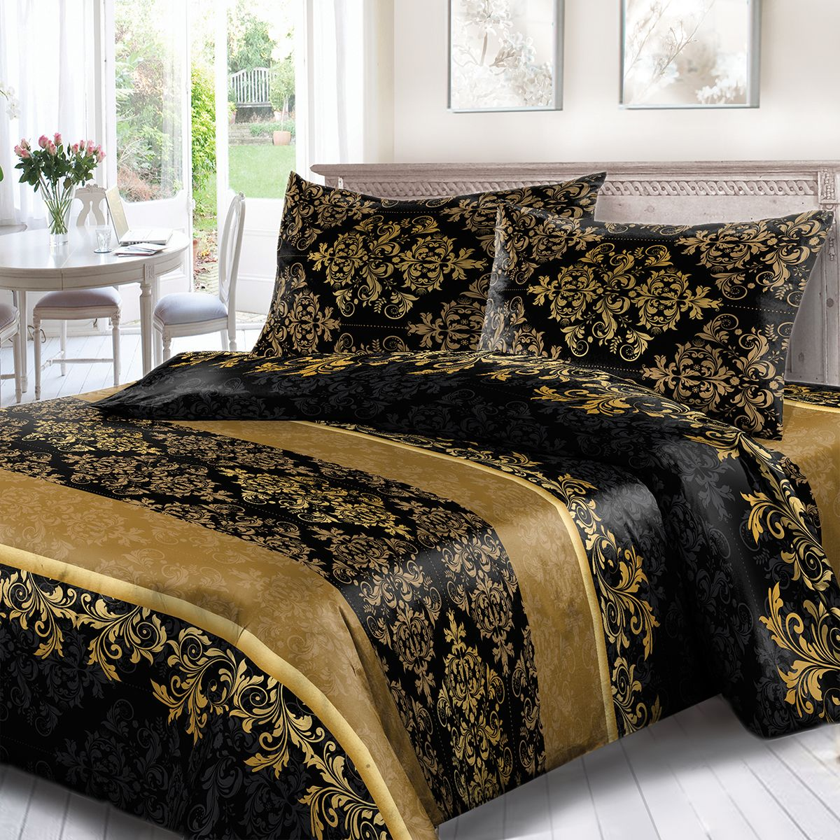 Комплект белья Сорренто Афины, 2-х спальное, наволочки 70x70, цвет: черный. 3733-190232