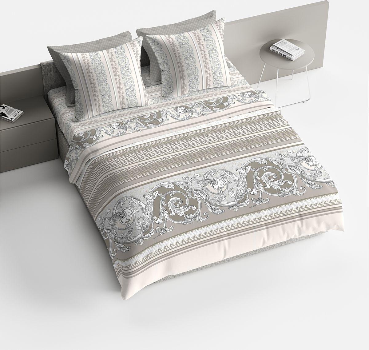 Комплект белья Браво Барокко, евро, наволочки 70x70, цвет: серый90414Комплекты постельного белья из ткани LUX COTTON (высококачественный поплин), сотканной из длинноволокнистого египетского хлопка, созданы специально для людей с оригинальным вкусом, предпочитающим современные решения в интерьере. Обновленная стильная упаковка делает этот комплект отличным подарком. • Равноплотная ткань из 100% хлопка;• Обработана по технологии мерсеризации и санфоризации;• Мягкая и нежная на ощупь;• Устойчива к трению;• Обладает высокими показателями гигроскопичности (впитывает влагу);• Выдерживает частые стирки, сохраняя первоначальные цвет, форму и размеры;• Безопасные красители ведущего немецкого производителя BEZEMA