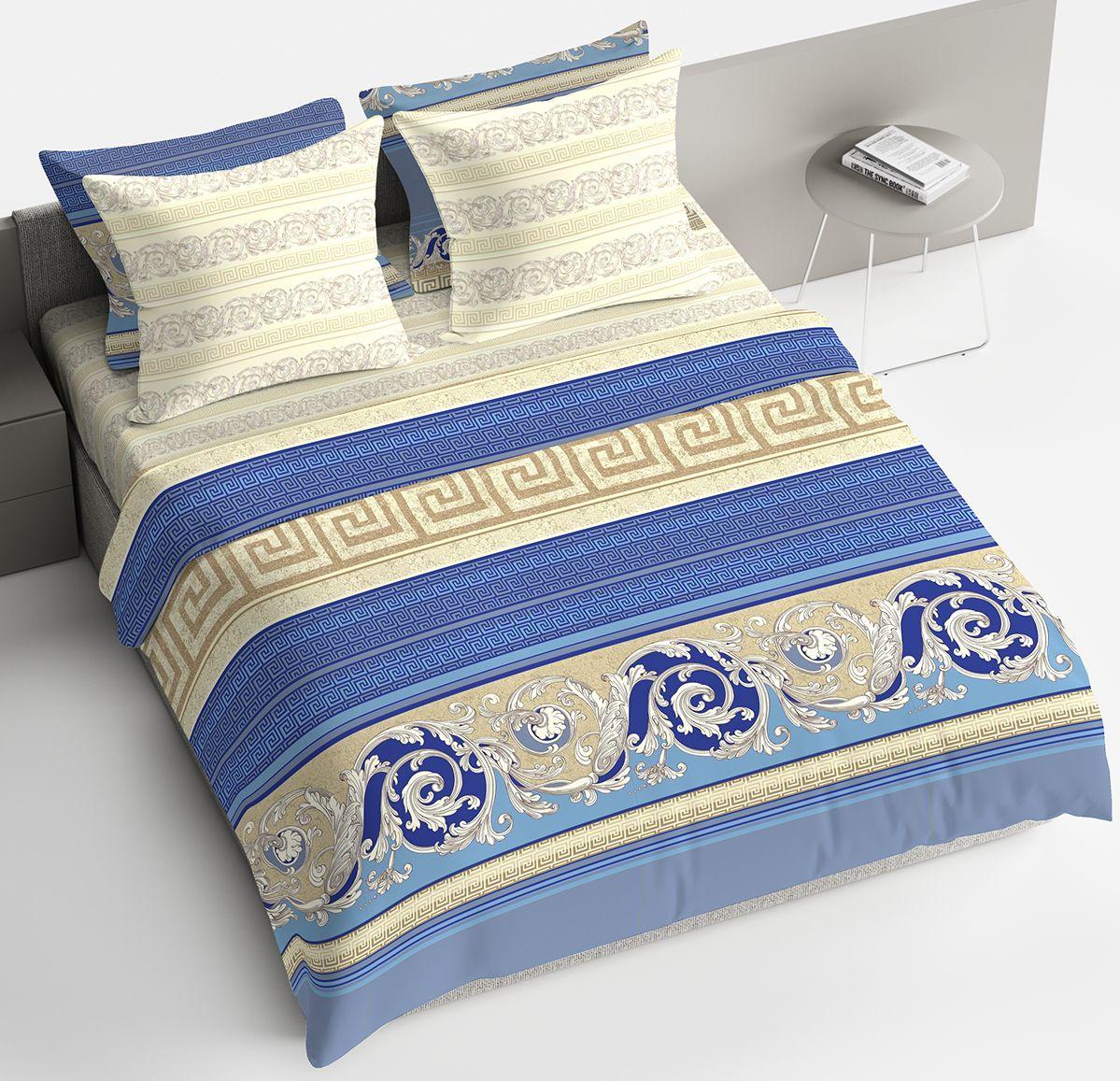 Комплект белья Браво Барокко, семейный, наволочки 70x70, цвет: синий. 4127-190415