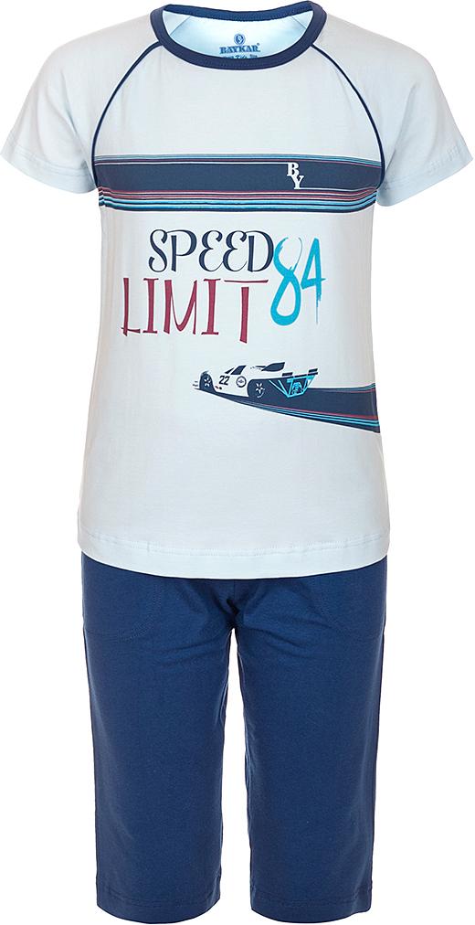 Пижама для мальчика Baykar, цвет: синий, мультиколор. N9616207A-9. Размер 116/122N9616207A-9Яркая пижама для мальчика Baykar, состоящая из футболки и шортиков, идеально подойдет вашему малышу и станет отличным дополнением к детскому гардеробу. Пижама, изготовленная из натурального хлопка, необычайно мягкая и легкая, не сковывает движения ребенка, позволяет коже дышать и не раздражает даже самую нежную и чувствительную кожу малыша. Футболка с короткими рукавами и круглым вырезом горловины спереди декорирована принтом. Шортики прямого кроя однотонного цвета на широкой эластичной резинке не сдавливают животик ребенка и не сползают.В такой пижаме ваш маленький непоседа будет чувствовать себя комфортно и уютно во время сна.