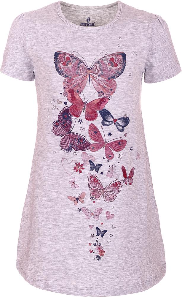 Ночная рубашка для девочки Baykar, цвет: серый, мультиколор. N9319220A-20. Размер 104/110N9319220A-20Ночная рубашка для девочки Baykar подарит не только комфорт и уют, но и понравится ребенку благодаря своему веселому и приятному дизайну. Изготовленная из мягкого хлопка, она тактильно приятна, хорошо пропускает воздух, а благодаря свободному крою не стесняет движений во сне.