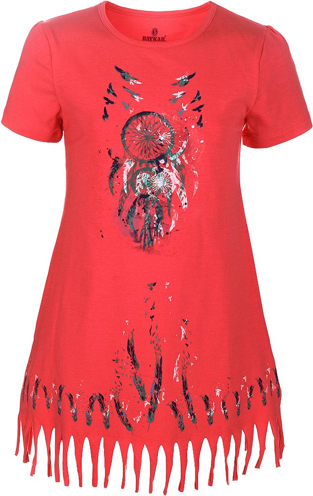 Ночная рубашка для девочки Baykar, цвет: фуксия, мультиколор. N9321219C-91. Размер 152/158N9321219C-91Ночная рубашка для девочки Baykar подарит не только комфорт и уют, но и понравится ребенку благодаря своему веселому и приятному дизайну. Изготовленная из мягкого хлопка, она тактильно приятна, хорошо пропускает воздух, а благодаря свободному крою не стесняет движений во сне.