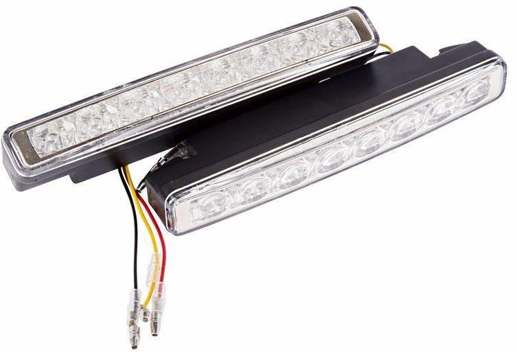 Дневные ходовые огни Lamper, 16 диодов80-1129Дневные ходовые огни выполнены из высокопрочного поликарбоната и пластикового корпуса с системой вентиляции и охлаждения. 2 фары по 8 светодиодов в каждой с цветовой температурой 6000К, универсальные крепления, проводка и набор крепежных элементов. Рабочее напряжение: 8-16 В Потребляемая мощность: 8 Вт Продолжительность работы: до 50 000 часов Температура работы: от -40°C до +85°C.