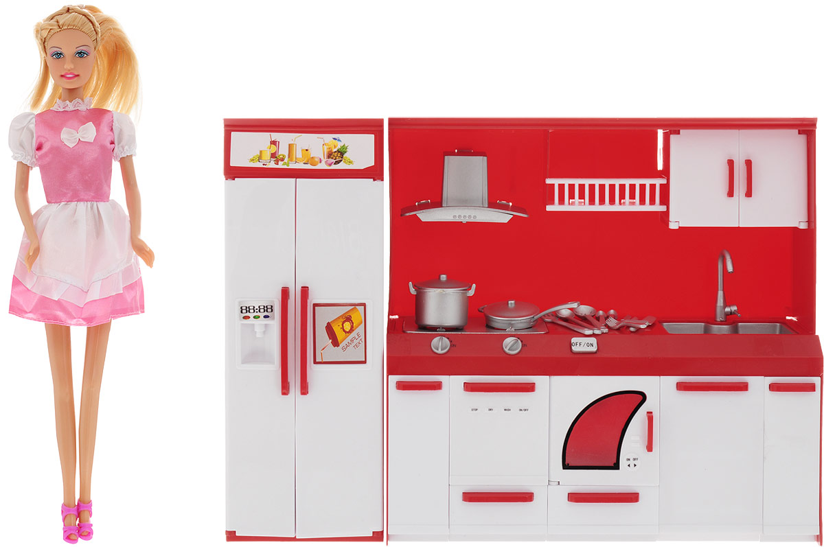 Defa Игровой набор с куклой Lucy На кухне цвет розовый белый кукла defa lucy невеста 8341