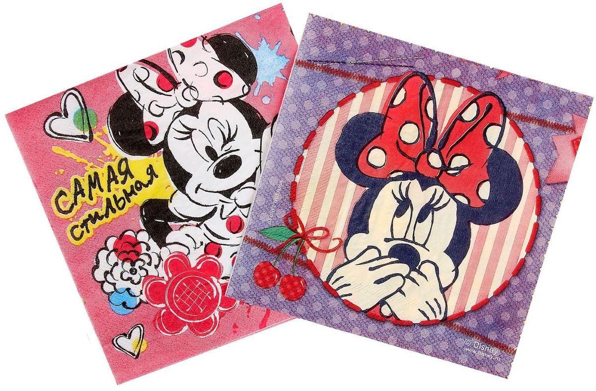 Набор салфеток для декупажа Disney Минни Маус. Кокетка Минни, 33 х 33 см, 2 шт1194232Набор салфеток для декупажа изготовлен из тонкой, но качественной бумаги. Легко приклеится к основе и сохранит при этом насыщенность красок и четкость линий.Создавайте свои уникальные шедевры!