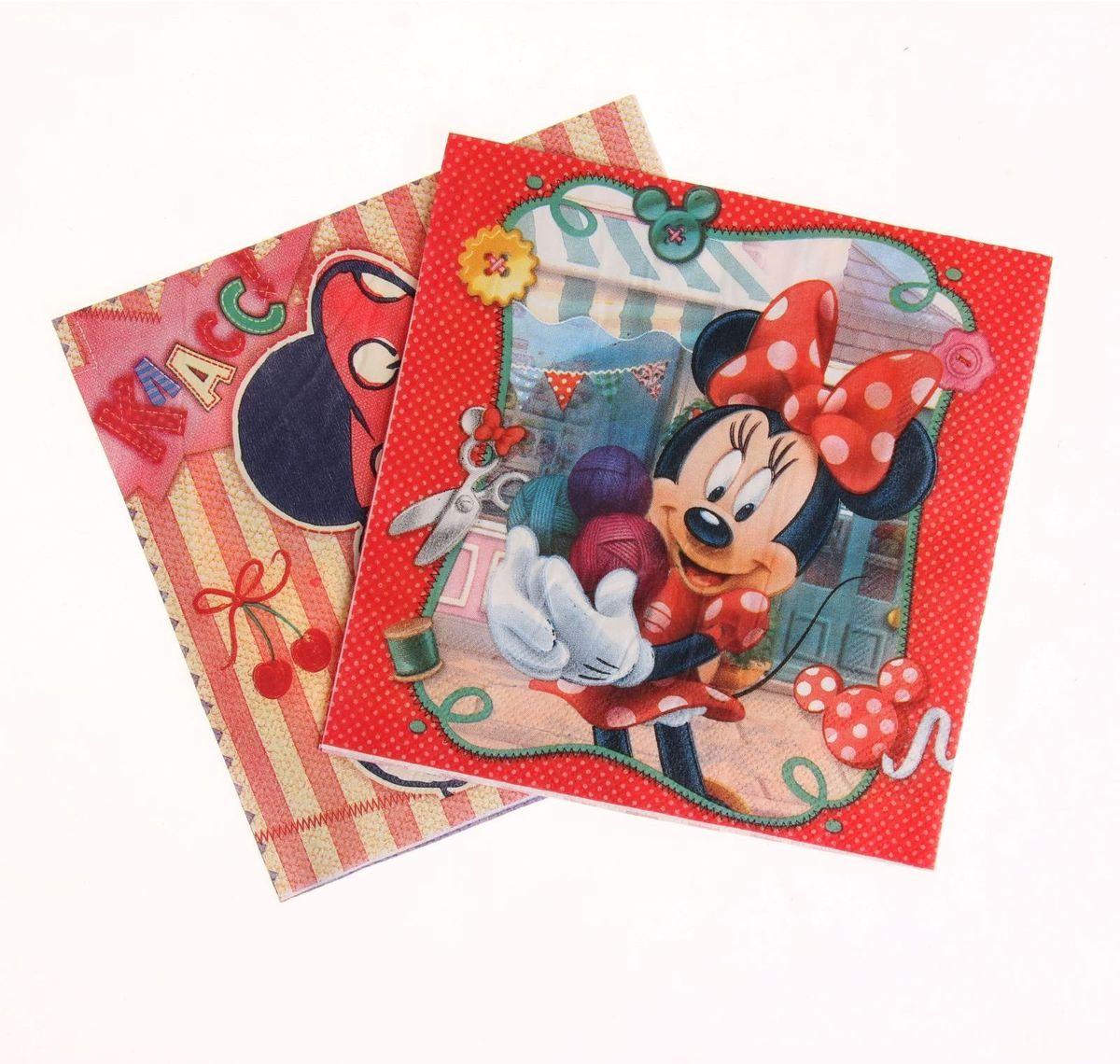 Набор салфеток для декупажа Disney Минни Маус. Мастерица, 33 х 33 см, 2 шт1257338Набор салфеток для декупажа изготовлен из тонкой, но качественной бумаги. Легко приклеится к основе и сохранит при этом насыщенность красок и четкость линий.Создавайте свои уникальные шедевры!