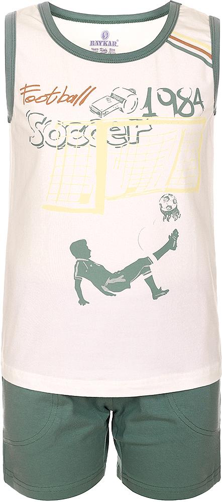 Пижама для мальчика Baykar, цвет: молочный, мультиколор. N9614208A-17. Размер 104/110N9614208A-17Яркая пижама для мальчика Baykar, состоящая из футболки и шортиков, идеально подойдет вашему малышу и станет отличным дополнением к детскому гардеробу. Пижама, изготовленная из натурального хлопка, необычайно мягкая и легкая, не сковывает движения ребенка, позволяет коже дышать и не раздражает даже самую нежную и чувствительную кожу малыша. Футболка без рукавов и круглым вырезом горловины спереди декорирована принтом. Шортики прямого кроя однотонного цвета на широкой эластичной резинке не сдавливают животик ребенка и не сползают.В такой пижаме ваш маленький непоседа будет чувствовать себя комфортно и уютно во время сна.