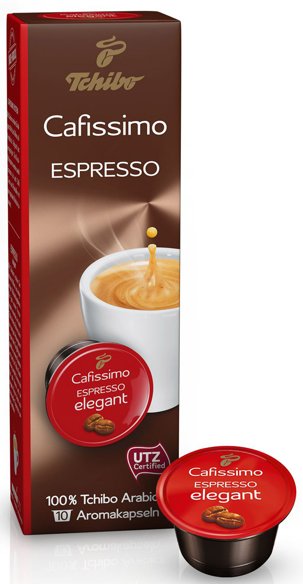 Cafissimo Espresso Elegant кофе в капсулах, 10 шт464518Cafissimo познакомит вас с изысканным кофе, собранным на превосходных кофейных плантациях. Каждая кофейная капсула Tchibo содержит гармоничную композицию из лучших зерен Arabica, которые медленно вызревали на солнечных полях. Тщательно отобранные для вас профессионалами и прошедшие индивидуальную обжарку зерна Tchibo при варке идеально раскрывают полный аромат и мягкий вкус этого безупречно выразительного Espresso elegant.Уважаемые клиенты! Обращаем ваше внимание на то, что упаковка может иметь несколько видов дизайна. Поставка осуществляется в зависимости от наличия на складе.Кофе: мифы и факты. Статья OZON Гид
