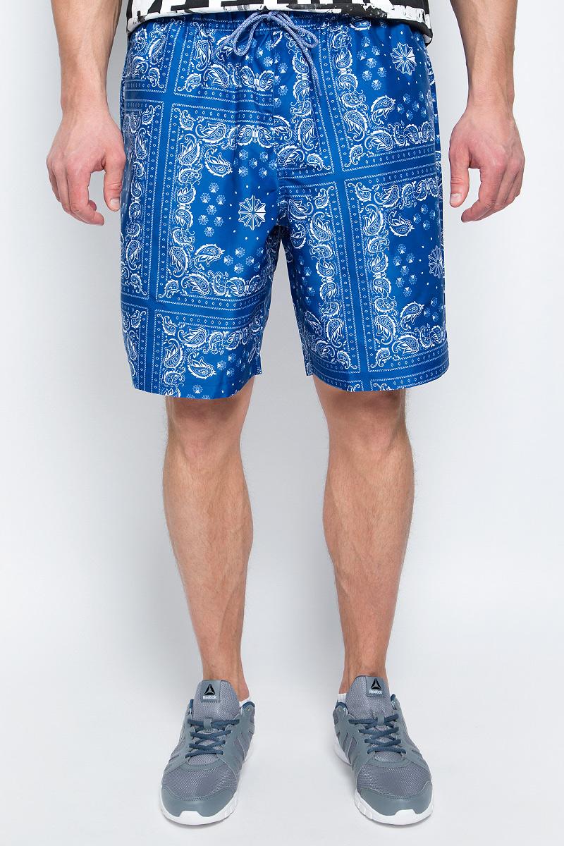 Шорты пляжные мужские Reebok F Bandana Print Board Sho, цвет: синий, белый. BP6412. Размер XL (56/58) мужские пляжные шорты adgddf surf 546321