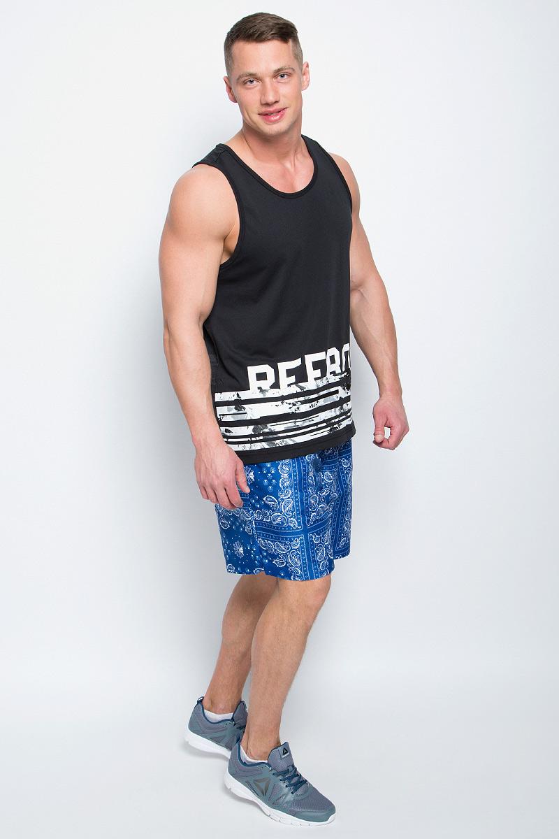 Шорты пляжные мужские Reebok F Bandana Print Board Sho, цвет: синий, белый. BP6412. Размер XL (56/58)BP6412Пляжные мужские шорты Reebok F Bandana Print Board Sho с вшитыми сетчатыми трусами изготовлены из качественного полиэстера. На поясе модель дополнена эластичной резинкой и шнурком-утяжкой. По бокам имеются два врезных кармана, сзади - один накладной карман. Модель оформлена ярким оригинальным принтом.