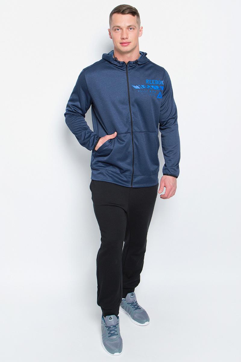 Толстовка мужская Reebok Wor Elitage Group F, цвет: темно-синий. BK3269. Размер XL (56/58)BK3269Мужская толстовка Reebok выполнена из полиэстера. Приятная на ощупь мягкая ткань двойного плетения не стесняет движений. Технология Speedwick отводит влагу с поверхности тела, оставляя ощущение сухости и комфорта. У модели удобная застежка-молния по всей длине. Манжеты и окантовка низа изготовлены из того же материала, что и сама толстовка. Накладные карманы спереди для хранения необходимых мелочей.