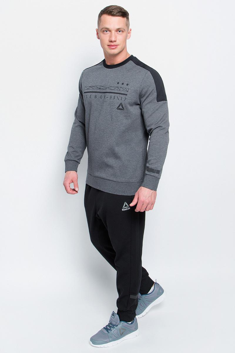 Свитшот мужской Reebok Wor C Graphic Crew цвет серый BK4713 Размер L 5254