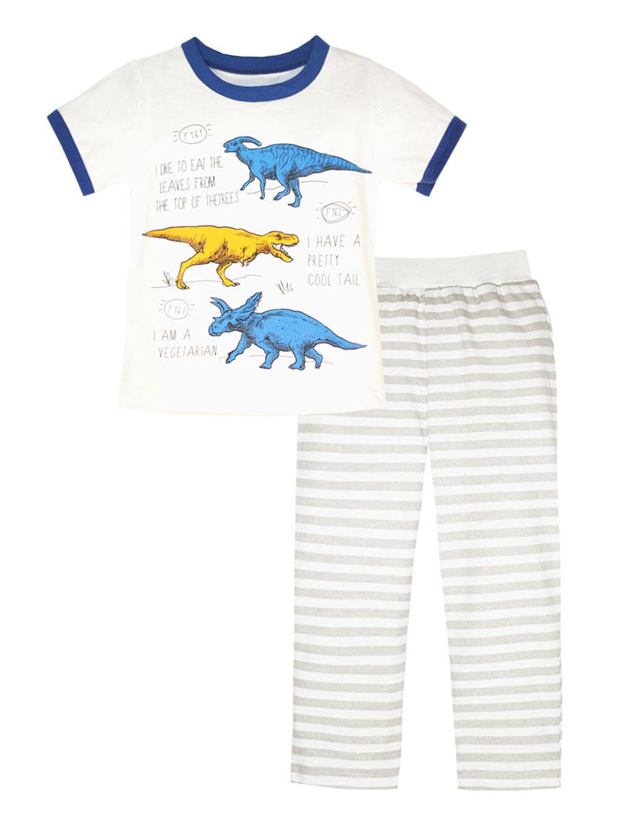Пижама для мальчика КотМарКот, цвет: белый, серый, синий. 16710. Размер 11616710Пижама для мальчика КотМарКот выполнена из натурального хлопка и состоит из футболки и брючек в полоску. Футболка выполнена с короткими рукавами и удобным круглым воротом. Штанишки на талии собраны на эластичную резинку. Футболка оформлена оригинальным принтом с динозаврами.