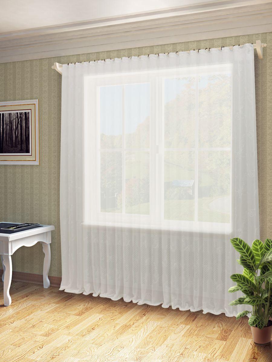Тюль Sanpa Home Collection Дора, на ленте, цвет: белый, высота 260 см осмибт дора стандарт белый