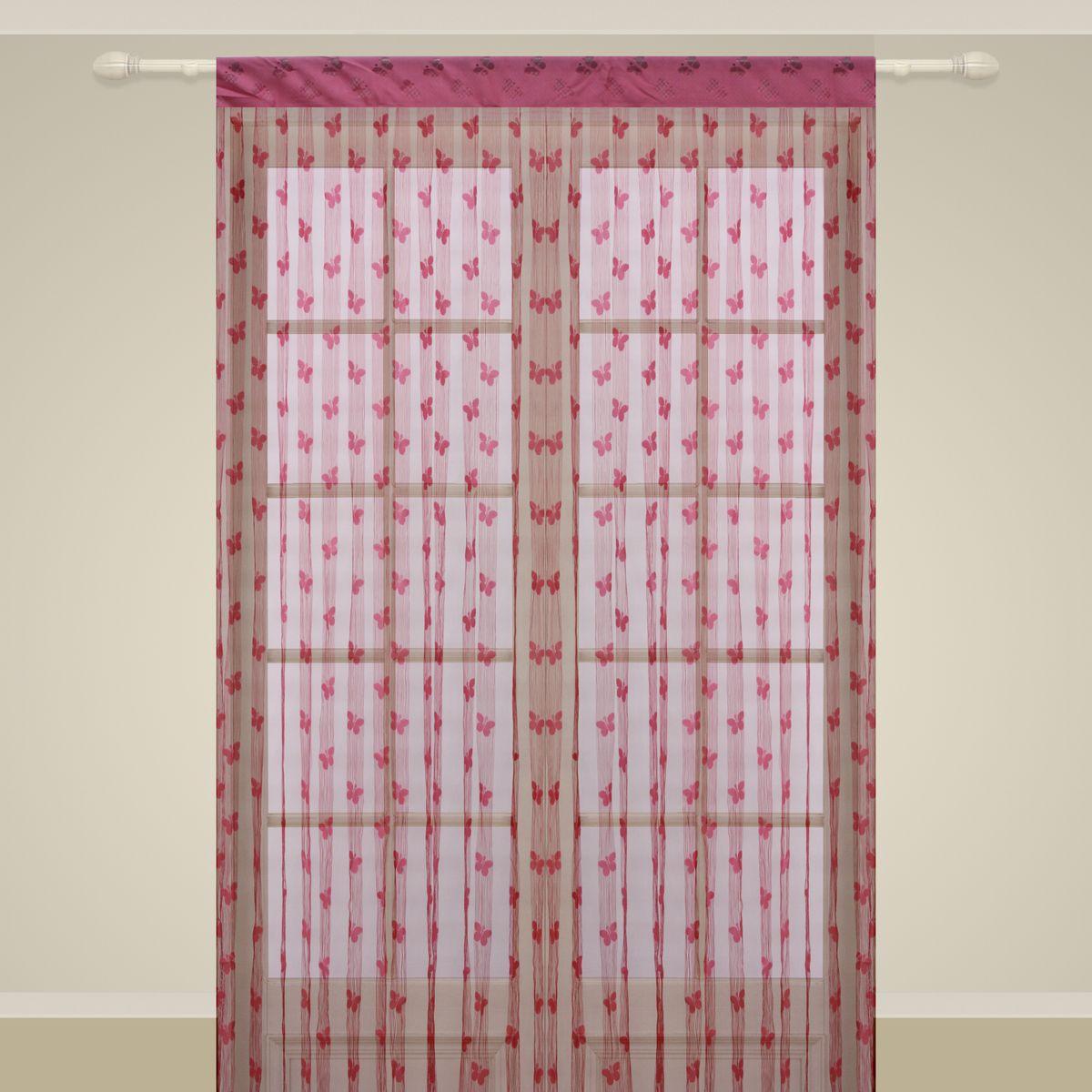 Штора нитяная Sanpa Home Collection, на ленте, цвет: фуксия, высота 290 см. SP106 тюль sanpa home collection готовый тюль