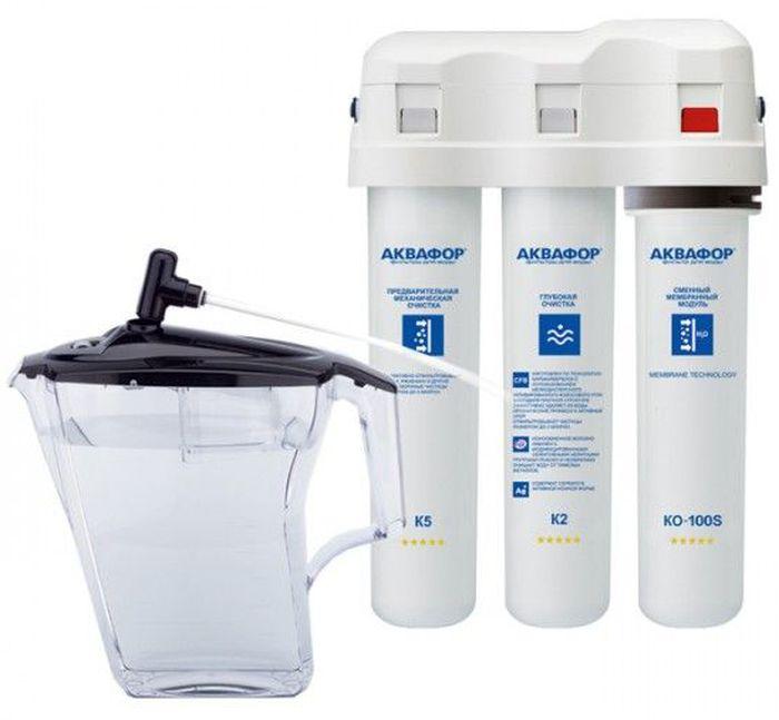 Водоочиститель Аквафор ОСМО DWM-31DWM-31 (c КР5)Водоочиститель для очистки питьевой водопроводной воды Аквафор ОСМО DWM-31 незаменим в современной жизни. Он обеспечивает исключительное качество очистки воды за счет многоступенчатой фильтрации. Фильтр полностью очищает воду от солей жесткости. Очищенная вода (мягкая вода) подходит для использования в кофе-машине, чайнике и мультиварке, поскольку не образует накипи, тем самым защищает чувствительную технику от поломки.На этапе минерализации Фильтр Аквафор ОСМО DWM-31обогащает воду природным магнием в оптимальной концентрации. Фильтр не только устраняет все вредные примеси из водопроводной воды любого качества, но и делает воду полезной для здоровья.С таким фильтром у вас всегда под рукой 2,5 литра чистой, мягкой воды, которая подходит для приготовления безопасного детского питания, вкусного чая, кофе, супов и многого другого.У данной модели фильтра нет накопительного бака, как у традиционных фильтров. За счет этого экономится место под мойкой. Кроме того, вы сами определяете, сколько воды хотите набрать про запас. В комплект фильтра входит отсекатель: он позволит использовать любую емкость в качестве накопителя. Также к фильтру прилагается трехлитровый кувшин, к которому можно подсоединить сам фильтр. В любом случае, следить за процессом нет необходимости: подача воды из фильтра прекратится автоматически, когда емкость наполнится.Работает при пониженном давлении.