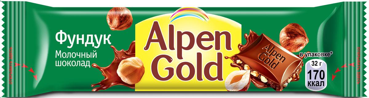 Alpen Gold шоколад с дробленым фундуком, 32 г шоколад alpen gold темный вишня и миндаль