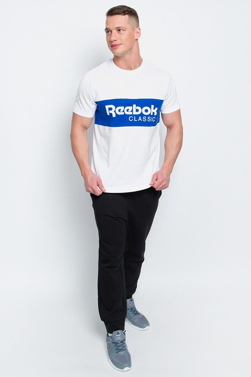 Купить Футболка мужская Reebok F Archive Stripe Te, цвет: белый, синий. BK3834. Размер M (48/50)