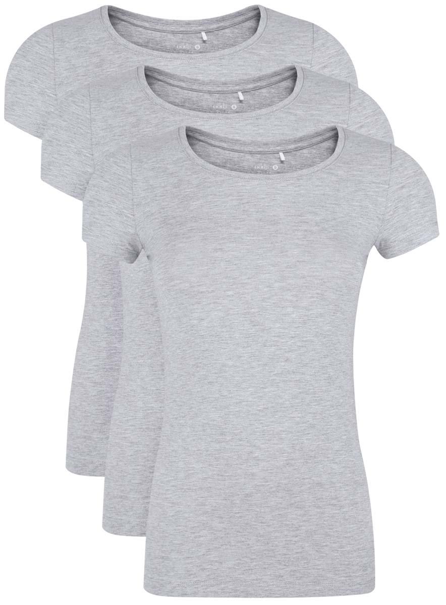 цены Футболка женская oodji Ultra, цвет: светло-серый меланж, 3 шт. 14701005T3/46147/2000M. Размер XL (50)