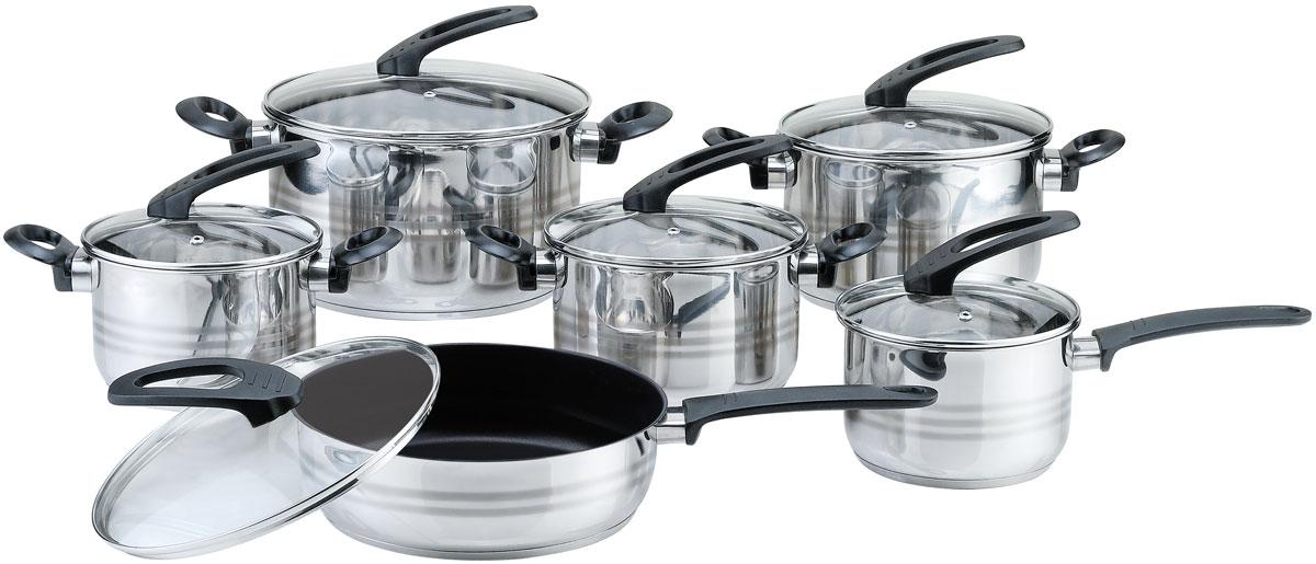 Набор посуды Bekker Premium, 12 предметовBK-2710Набор посуды Bekker Premium состоит из 4 кастрюль, ковша, сковороды с крышками. Изделия изготовлены из высококачественной нержавеющей стали. Посуда имеет капсулированное термическое дно - совершенно новая разработка, позволяющая приготавливать здоровую пищу. Благодаря уникальной конструкции дна, тепло, проходя через металл, равномерно распределяется по стенкам посуды. Для приготовления пищи в такой посуде требуется минимальное количество масла, тем самым уменьшается риск потери витаминов и минералов в процессе термообработки продуктов. Крышки выполнены из жаростойкого прозрачного стекла, оснащены бакелитовыми ручками, металлическим ободом и отверстием для выпуска пара. Такие крышки позволяют следить за процессом приготовления пищи без потери тепла. Они плотно прилегают к краю и сохраняют аромат блюд. Подходит для всех плит. Можно мыть в посудомоечной машине. Объем кастрюль: 1,9 л, 2,7 л, 3,6 л, 6,1 л.br>Объем ковша: 1,9 л.Сковорода с антипригарным покрытием 2,9 л.