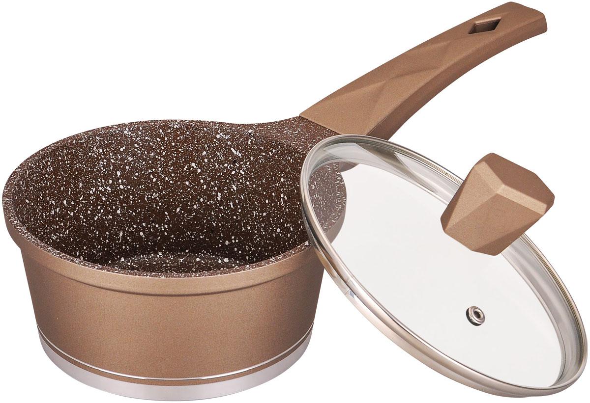 Ковш Winner Marble coating, с крышкой, с антипригарным мраморным покрытием, 1,2 л174309Ковш Winner Marble coating выполнен из литого алюминия. Внутри он имеет антипригарное мраморное цветное покрытие, снаружи - жаростойкоелаковое цветное. Оснащен бакелитовыми ручками с покрытием Soft Touch и стеклянной крышкой.Подходит для индукционных плит и чистки в посудомоечной машине.