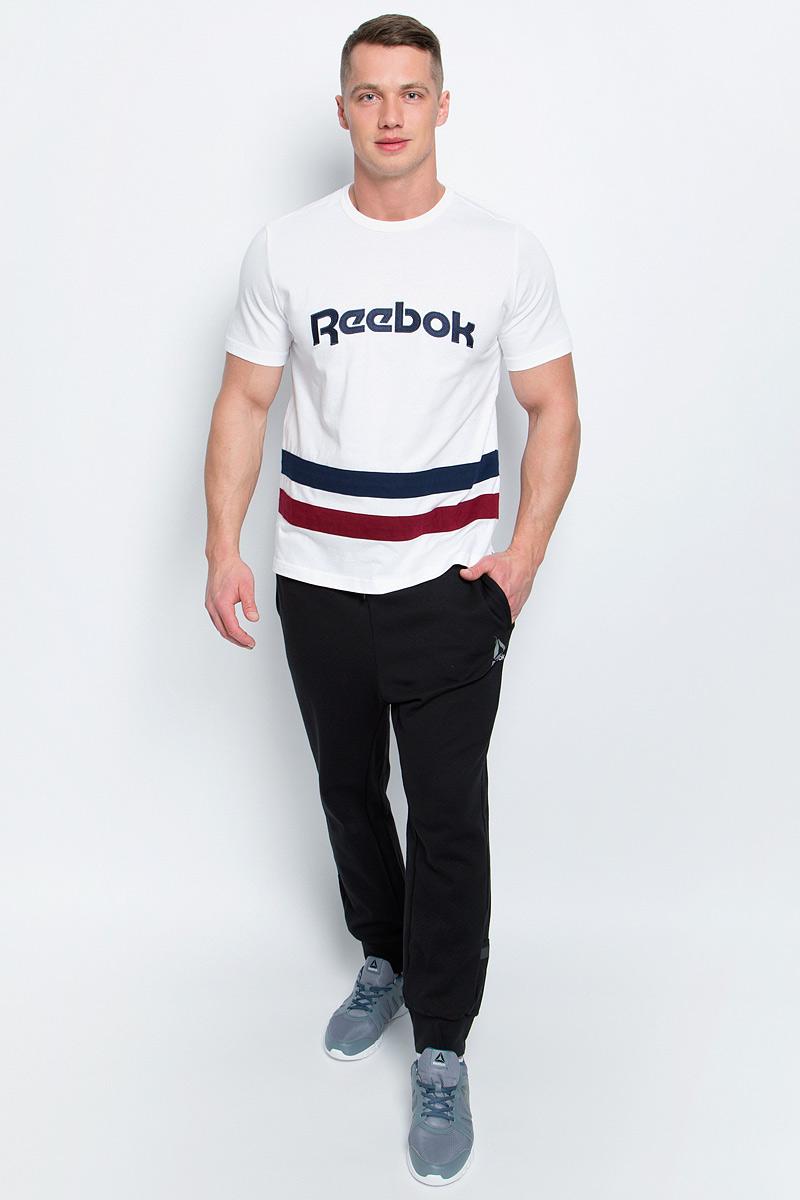 Футболка мужская Reebok F Striped Tee, цвет: белый. BK3328. Размер M (48/50) cowl neck striped trim tee