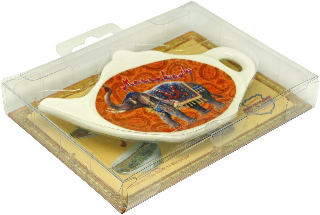 Подставка для чайных пакетиков GiftnHome Marrakesh, цвет: белый, оранжевыйTB-MarrakeshПодставка для чайных пакетиков GiftnHome Marrakesh, изготовленная из фарфора, порадует вас оригинальностью и дизайном. Подставка выполнена в форме чайничка и оформлена рисунком в виде индийского слона. С помощью такой подставки ваша столешница останется чистой.