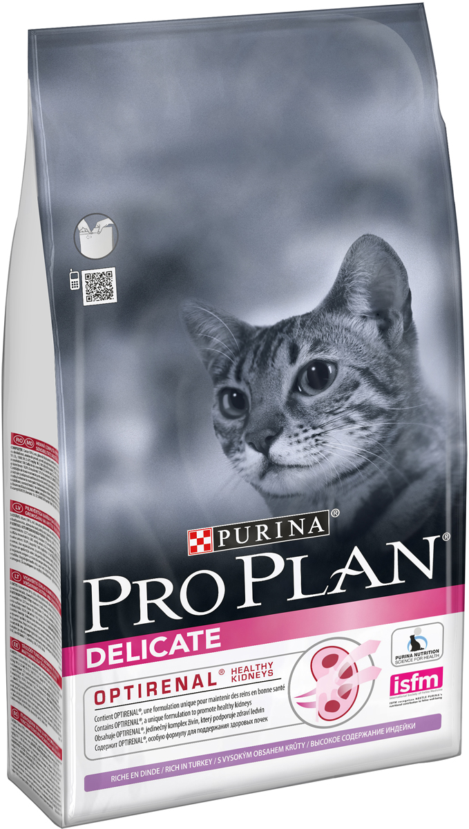 Корм сухой Pro Plan Delikate для кошек с чувствительным пищеварением или с особыми предпочтениями, с индейкой, 1,5 кг12172067Сухой корм Pro Plan Delikate - это полноценный рацион для взрослых кошек с чувствительным пищеварением или с особыми предпочтениями. Он содержит особую разработанную с участием ученых комбинацию ингредиентов для поддержания здоровья вашего питомца в течение продолжительного времени. Особенности сухого корма: содержит уникальную формулу для поддержания здоровья почек,помогает улучшать пищевую переносимость благодаря ограниченному количеству источников белка,обладает замечательными вкусовыми свойствами и придется по вкусу даже самым капризным кошкам,поддерживает здоровье иммунной системы.Состав: индейка (18%), рис, кукурузный глютен, концентрат горохового белка, сухой белок индейки, животный жир, яичный порошок, кукурузный крахмал, кукуруза, минеральные вещества, рыбий жир, вкусоароматическая кормовая добавка, дрожжи. Анализ: белок: 40%, жир: 18%, сырая зола: 7%, сырая клетчатка: 0,5%.Добавки на кг: витамин А: 32 600; витамин D3: 1060; витамин Е: 720 мг/кг; железо: 60; йод: 1,9; медь: 11; марганец: 15; цинк: 140; селен: 0,12 мг/кг.Товар сертифицирован.