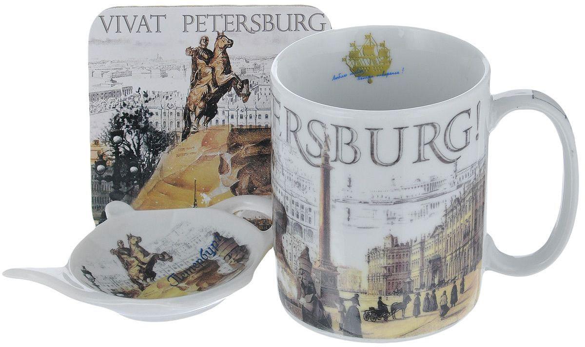 Набор чайный GiftnHome Виват Петербург, 330 мл, 3 предметаS013-3 VivatБлюдце и кружка изготовлены из фарфора, подставка - пробка
