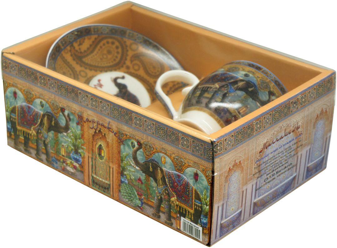 Кофейная пара GiftnHome Marrakesh, 130 мл, 2 предметаСS-130 MarrakeshЧайная пара GiftnHome Marrakesh состоит из чашки и блюдца. Предметы набора выполнены из высококачественного костяного фарфора белого цвета и оформлены оригинальными рисунками со слонами.Набор идеально подойдет для кофе и придется по вкусу и ценителям классики, и тем, кто предпочитает утонченность и изысканность.Объем чашки: 130 мл.