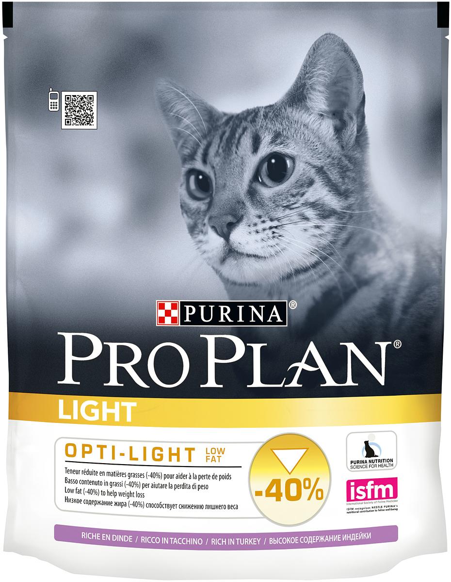 Корм сухой Pro Plan Light для взрослых кошек с избыточным весом с индейкой и рисом 400 г