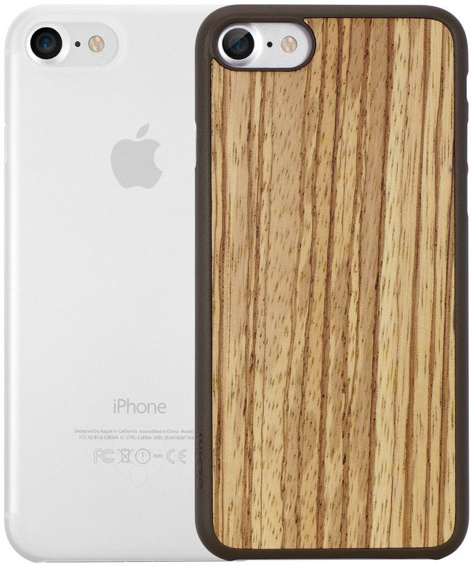 Ozaki O!coat Jelly+Wood набор чехлов для iPhone 7/8, Zebrano ClearOC721ZC